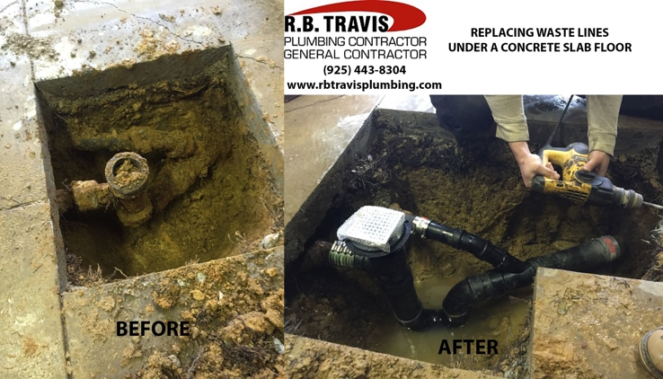 Replacing waste lines under a concrete slab floor